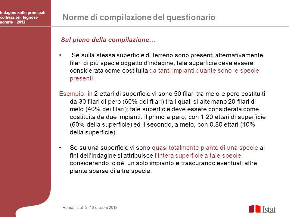 Norme di compilazione del questionario Indagine sulle principali coltivazioni legnose agrarie - 2012 Roma, Istat 9, 10 ottobre 2012 Sul piano della co