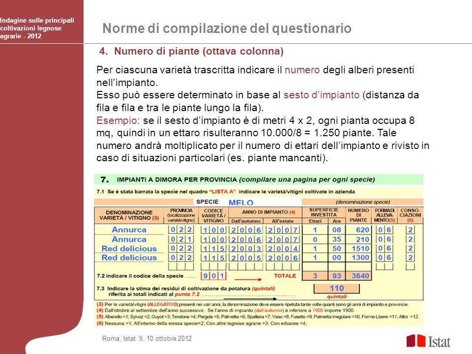 Norme di compilazione del questionario Indagine sulle principali coltivazioni legnose agrarie - 2012 Roma, Istat 9, 10 ottobre 2012 4. Numero di piant