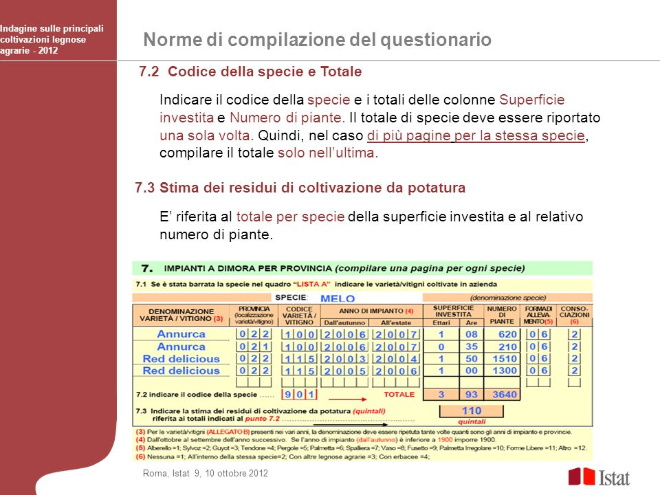 Norme di compilazione del questionario Indagine sulle principali coltivazioni legnose agrarie - 2012 Roma, Istat 9, 10 ottobre 2012 7.2 Codice della s