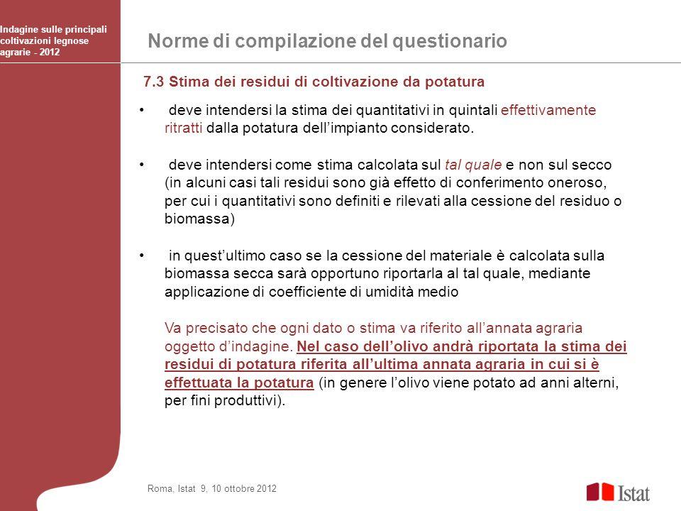 Norme di compilazione del questionario Indagine sulle principali coltivazioni legnose agrarie - 2012 Roma, Istat 9, 10 ottobre 2012 7.3 Stima dei resi