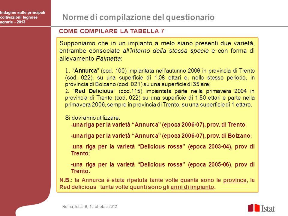 Norme di compilazione del questionario Indagine sulle principali coltivazioni legnose agrarie - 2012 Roma, Istat 9, 10 ottobre 2012 COME COMPILARE LA