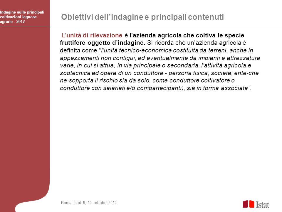 Obiettivi dellindagine e principali contenuti Indagine sulle principali coltivazioni legnose agrarie - 2012 Roma, Istat 9, 10, ottobre 2012 Lunità di