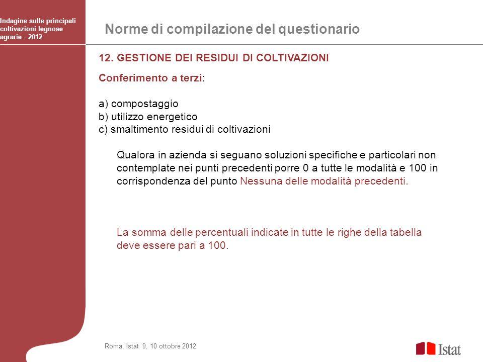 Norme di compilazione del questionario Indagine sulle principali coltivazioni legnose agrarie - 2012 Roma, Istat 9, 10 ottobre 2012 12. GESTIONE DEI R