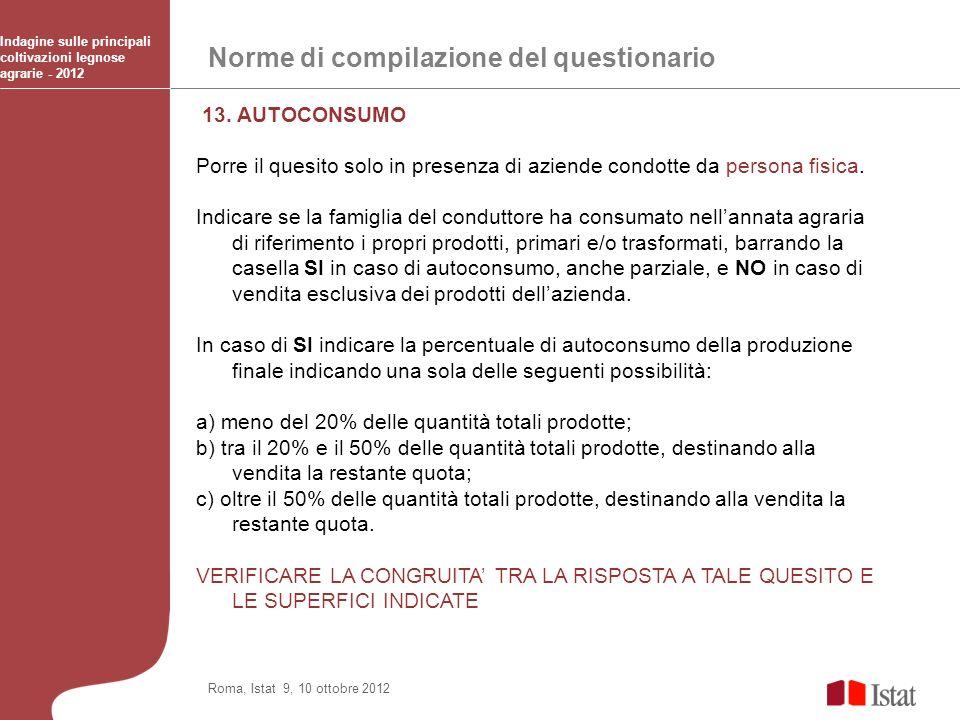 Norme di compilazione del questionario Indagine sulle principali coltivazioni legnose agrarie - 2012 Roma, Istat 9, 10 ottobre 2012 13. AUTOCONSUMO Po