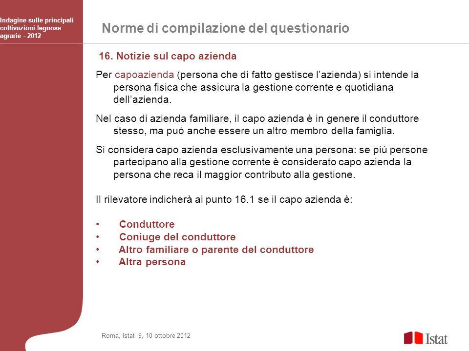 Norme di compilazione del questionario Indagine sulle principali coltivazioni legnose agrarie - 2012 Roma, Istat 9, 10 ottobre 2012 16. Notizie sul ca
