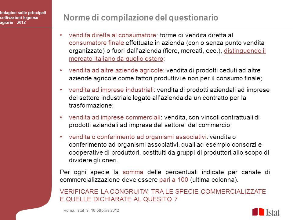 Norme di compilazione del questionario Indagine sulle principali coltivazioni legnose agrarie - 2012 Roma, Istat 9, 10 ottobre 2012 vendita diretta al