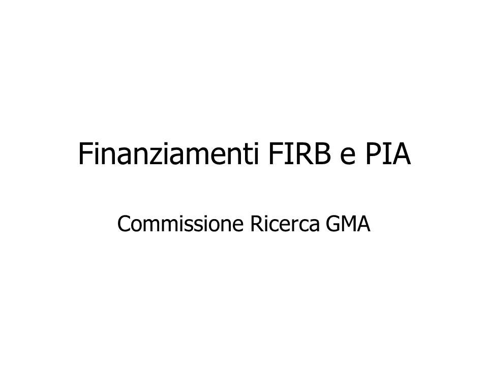 Finanziamenti FIRB e PIA Commissione Ricerca GMA