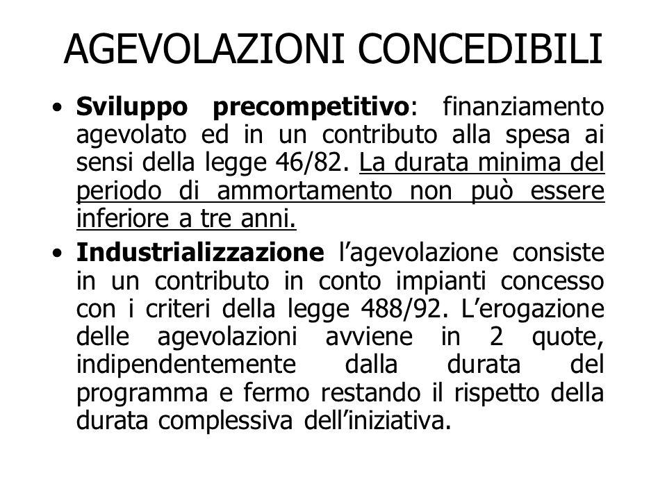 AGEVOLAZIONI CONCEDIBILI Sviluppo precompetitivo: finanziamento agevolato ed in un contributo alla spesa ai sensi della legge 46/82.