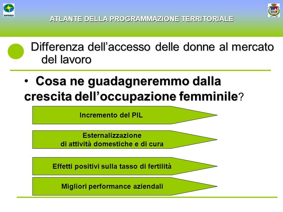 ATLANTE DELLA PROGRAMMAZIONE TERRITORIALE Differenza dellaccesso delle donne al mercato del lavoro Cosa ne guadagneremmo dalla crescitadelloccupazione