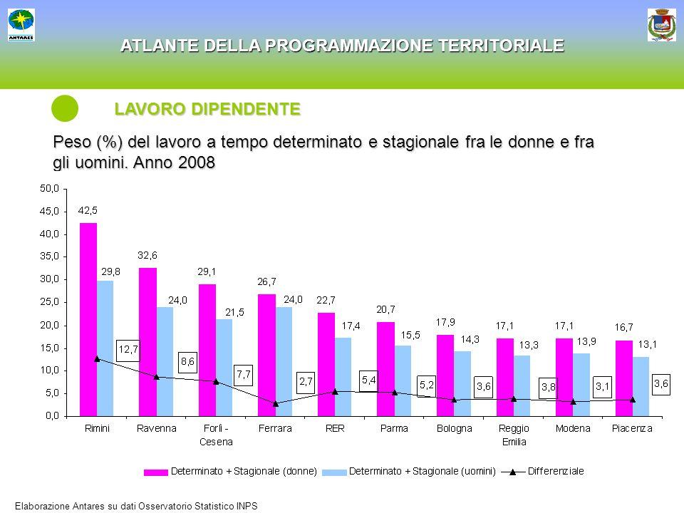 ATLANTE DELLA PROGRAMMAZIONE TERRITORIALE Peso (%) del lavoro a tempo determinato e stagionale fra le donne e fra gli uomini. Anno 2008 LAVORO DIPENDE