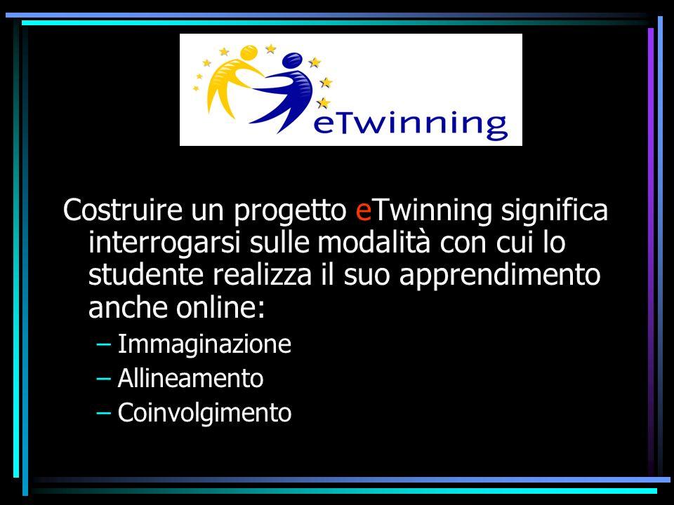Costruire un progetto eTwinning significa interrogarsi sulle modalità con cui lo studente realizza il suo apprendimento anche online: –Immaginazione –Allineamento –Coinvolgimento