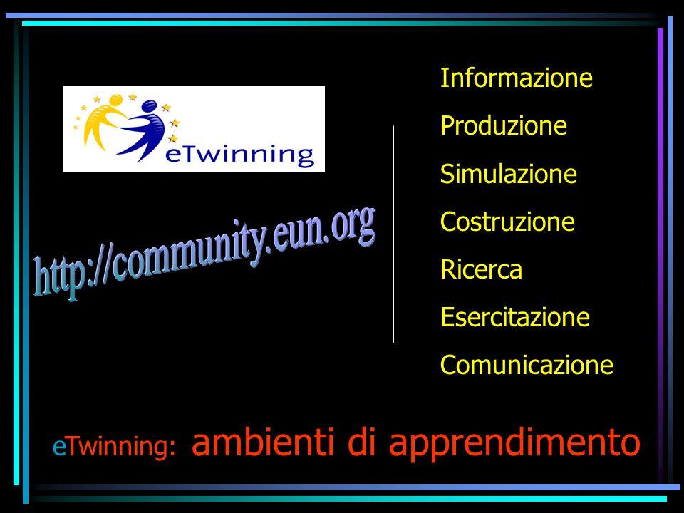 eTwinning: ambienti di apprendimento Informazione Produzione Simulazione Costruzione Ricerca Esercitazione Comunicazione