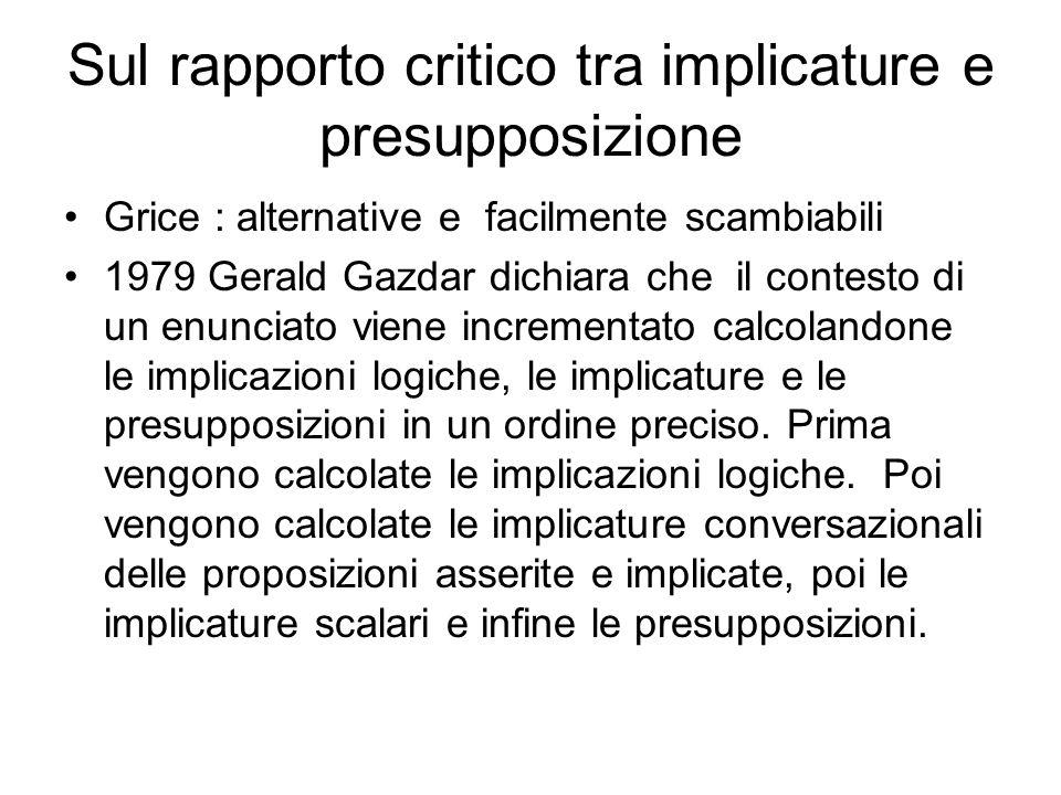 Sul rapporto critico tra implicature e presupposizione Grice : alternative e facilmente scambiabili 1979 Gerald Gazdar dichiara che il contesto di un