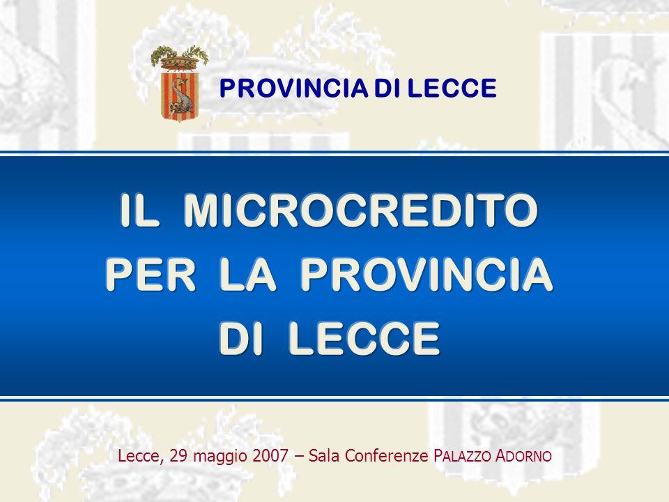 IL MICROCREDITO Lecce, 29 maggio 2007 – Sala Conferenze PALAZZO ADORNO soggetti deboli È un microfinanziamento finalizzato al sostegno di attività imprenditoriali a favore di soggetti deboli