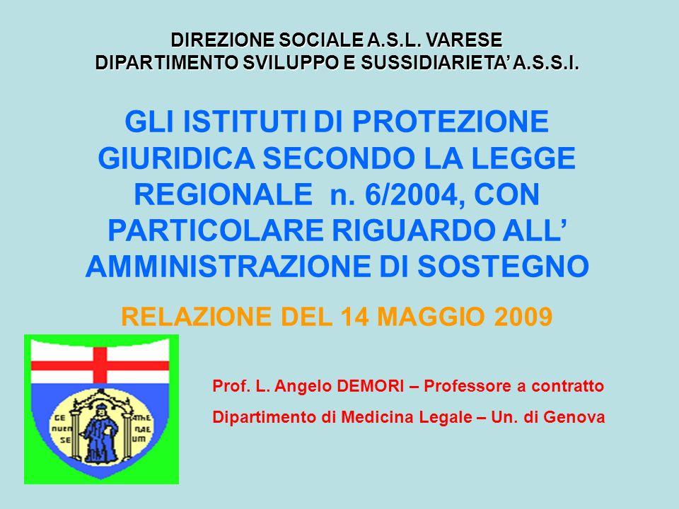DIREZIONE SOCIALE A.S.L. VARESE DIPARTIMENTO SVILUPPO E SUSSIDIARIETA A.S.S.I. Prof. L. Angelo DEMORI – Professore a contratto Dipartimento di Medicin