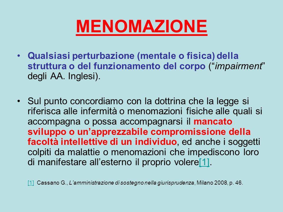 MENOMAZIONE Qualsiasi perturbazione (mentale o fisica) della struttura o del funzionamento del corpo (impairment degli AA. Inglesi). Sul punto concord