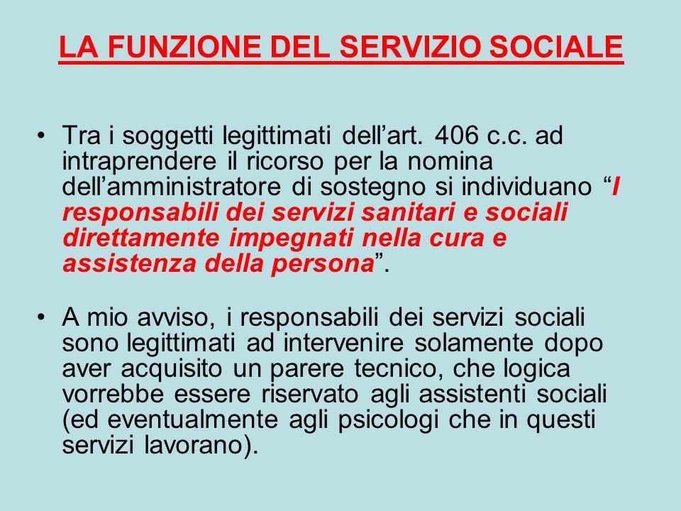 LA FUNZIONE DEL SERVIZIO SOCIALE Tra i soggetti legittimati dellart. 406 c.c. ad intraprendere il ricorso per la nomina dellamministratore di sostegno