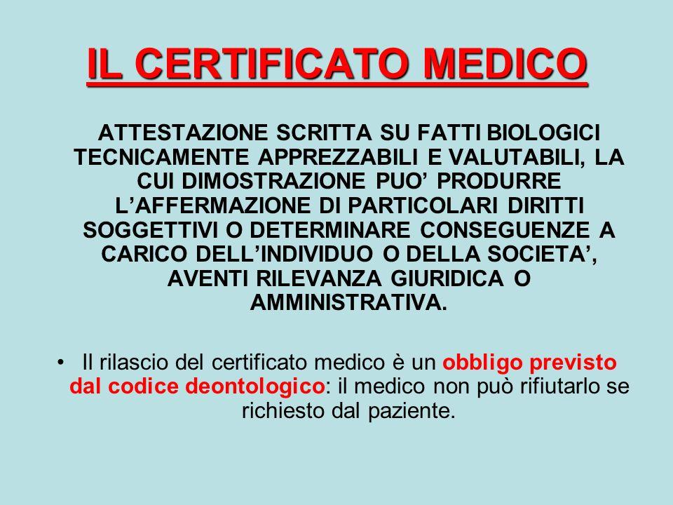 IL CERTIFICATO MEDICO ATTESTAZIONE SCRITTA SU FATTI BIOLOGICI TECNICAMENTE APPREZZABILI E VALUTABILI, LA CUI DIMOSTRAZIONE PUO PRODURRE LAFFERMAZIONE