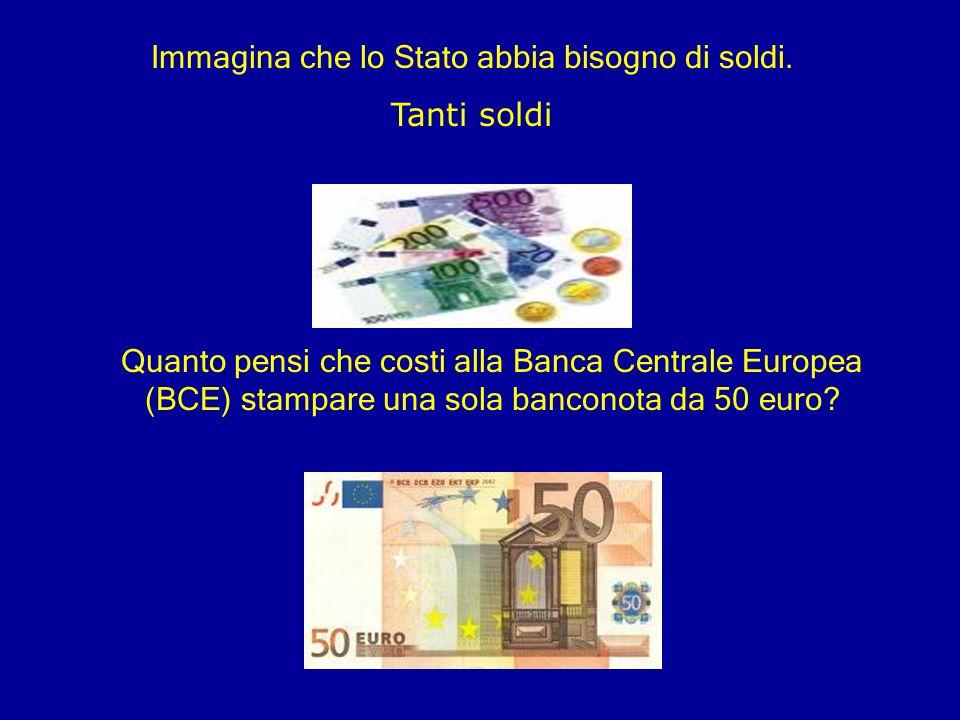 Immagina che lo Stato abbia bisogno di soldi. Tanti soldi Quanto pensi che costi alla Banca Centrale Europea (BCE) stampare una sola banconota da 50 e