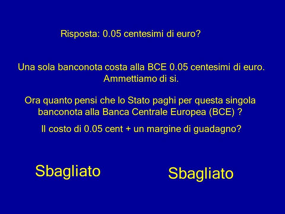 Risposta: 0.05 centesimi di euro? Una sola banconota costa alla BCE 0.05 centesimi di euro. Ammettiamo di si. Ora quanto pensi che lo Stato paghi per