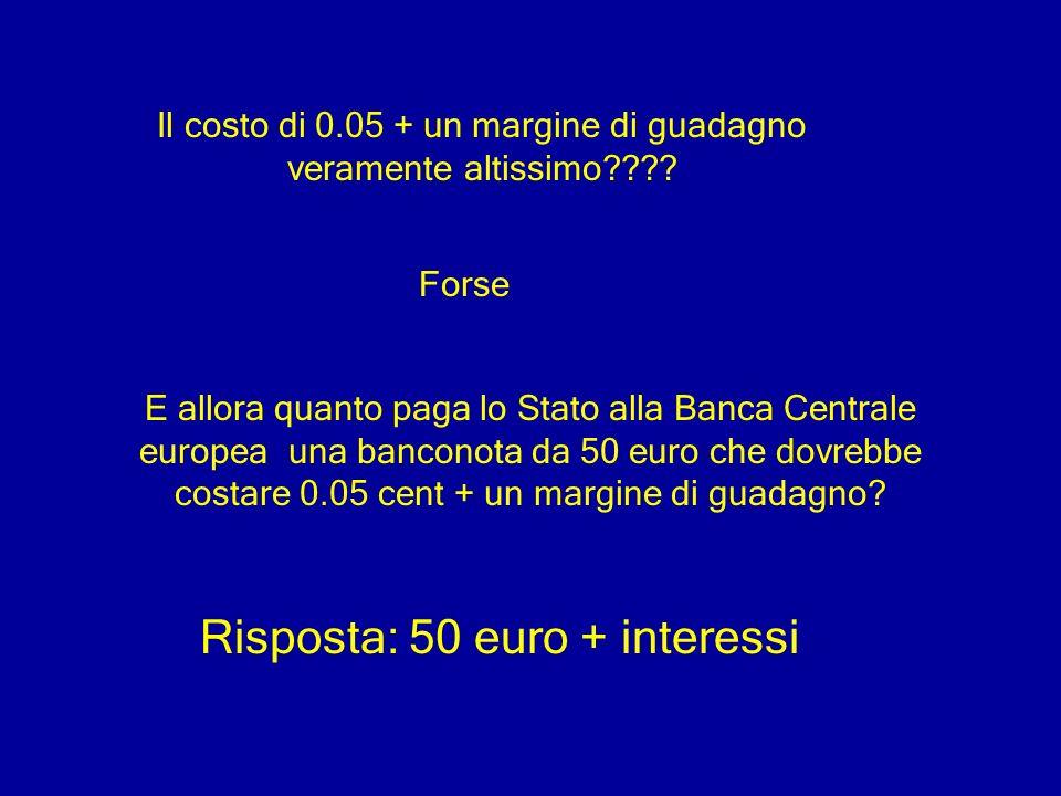 Il costo di 0.05 + un margine di guadagno veramente altissimo???? Forse E allora quanto paga lo Stato alla Banca Centrale europea una banconota da 50