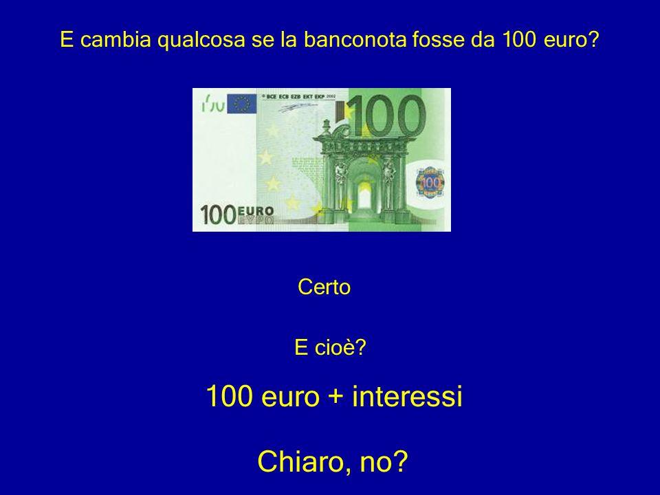 E cambia qualcosa se la banconota fosse da 100 euro? Certo E cioè? 100 euro + interessi Chiaro, no?