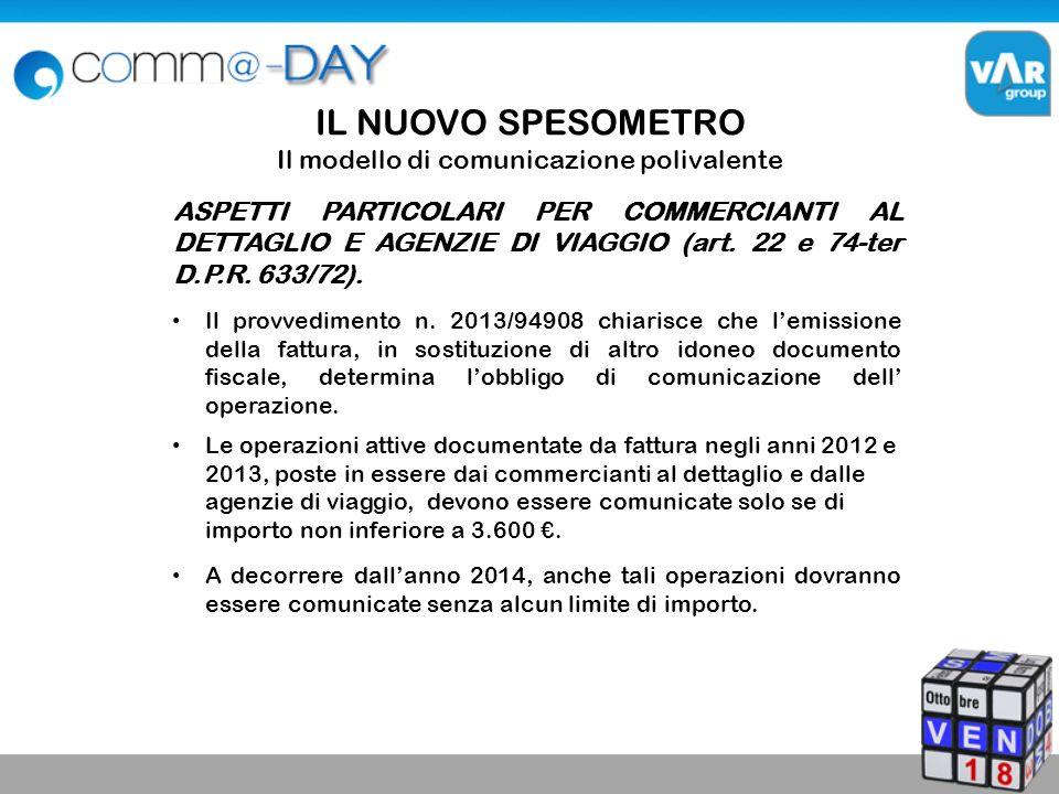 IL NUOVO SPESOMETRO Il modello di comunicazione polivalente ASPETTI PARTICOLARI PER COMMERCIANTI AL DETTAGLIO E AGENZIE DI VIAGGIO (art.
