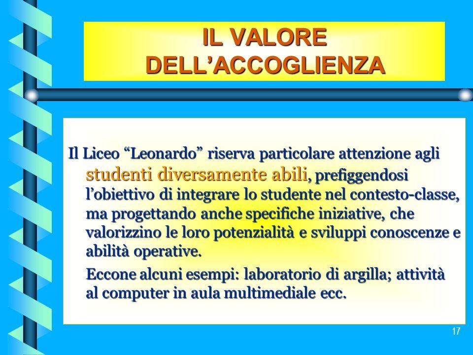 17 IL VALORE DELLACCOGLIENZA Il Liceo Leonardo riserva particolare attenzione agli studenti diversamente abili, prefiggendosi lobiettivo di integrare