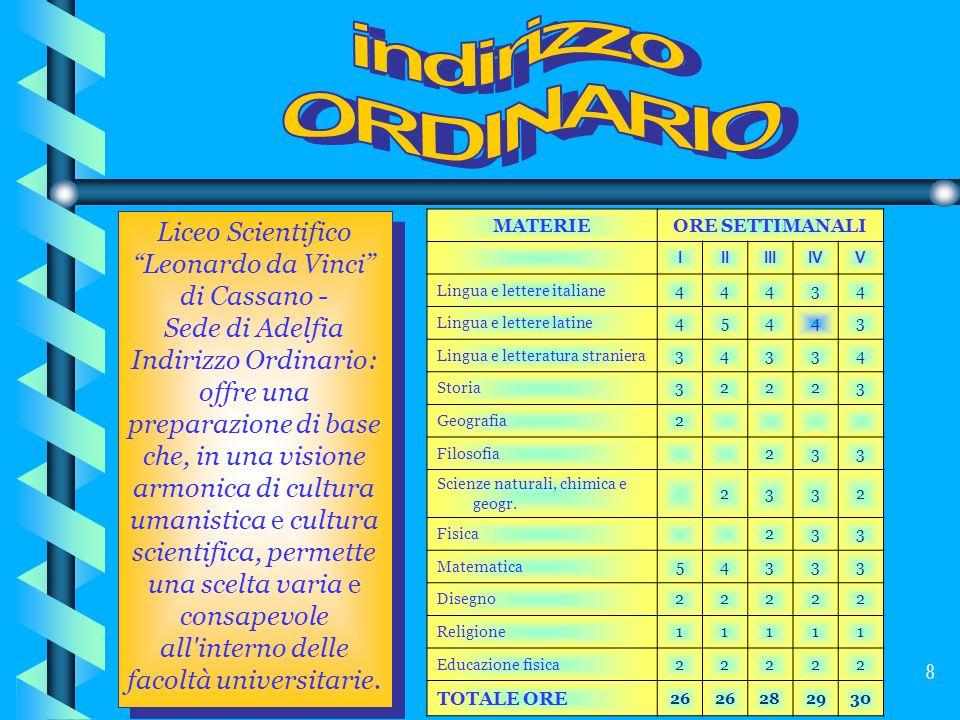 8 Liceo Scientifico Leonardo da Vinci di Cassano - Sede di Adelfia Indirizzo Ordinario: offre una preparazione di base che, in una visione armonica di