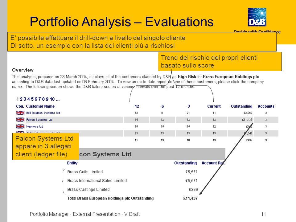 Portfolio Manager - External Presentation - V Draft 11 Portfolio Analysis – Evaluations E possibile effettuare il drill-down a livello del singolo cli