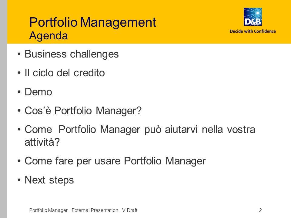 Portfolio Manager - External Presentation - V Draft 2 Portfolio Management Agenda Business challenges Il ciclo del credito Demo Cosè Portfolio Manager