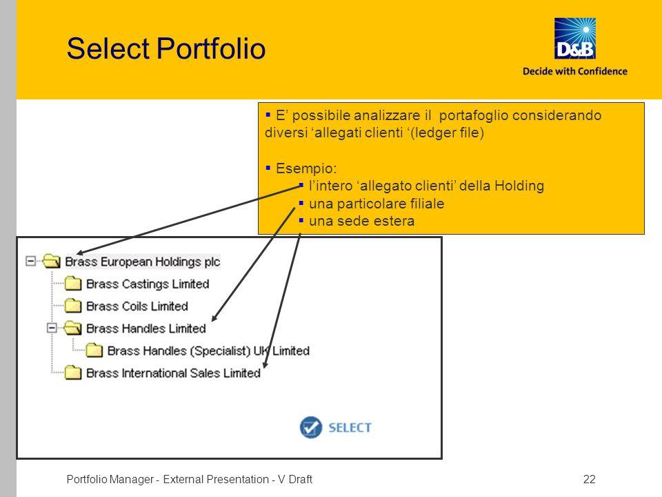 Portfolio Manager - External Presentation - V Draft 22 Select Portfolio E possibile analizzare il portafoglio considerando diversi allegati clienti (l