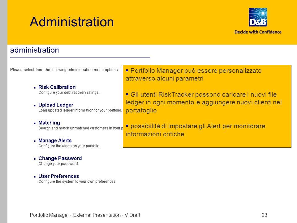 Portfolio Manager - External Presentation - V Draft 23 Administration Portfolio Manager può essere personalizzato attraverso alcuni parametri Gli uten