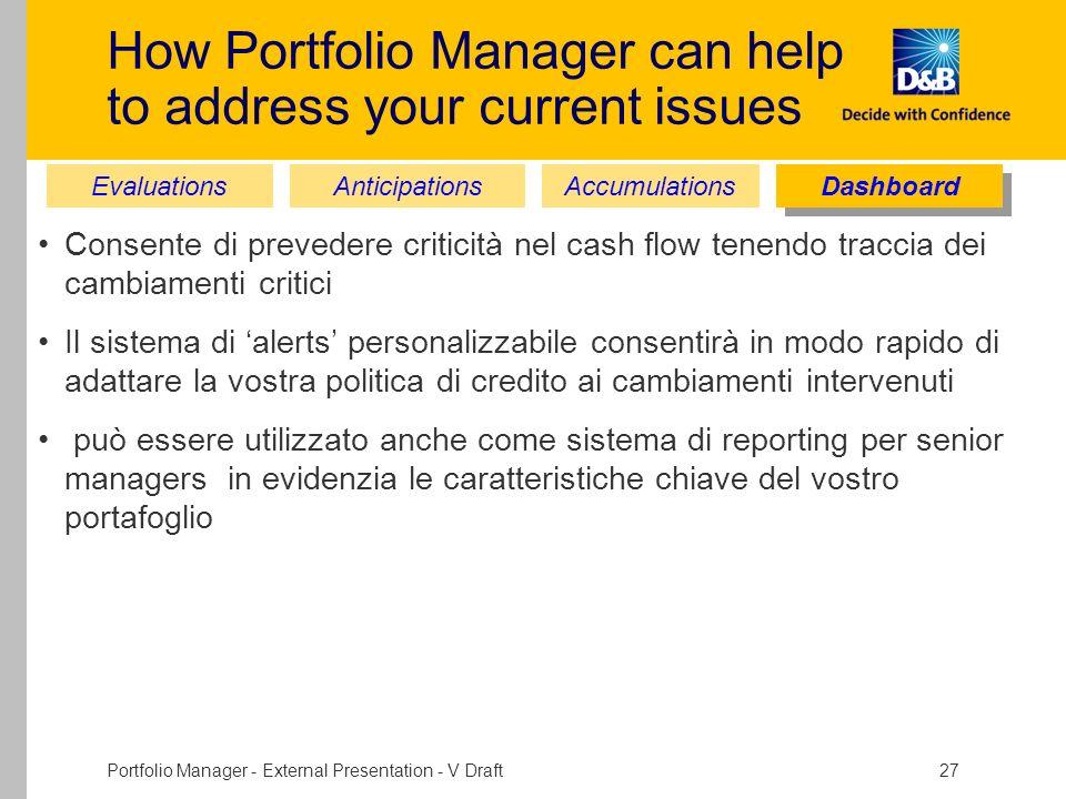 Portfolio Manager - External Presentation - V Draft 27 How Portfolio Manager can help to address your current issues Consente di prevedere criticità n