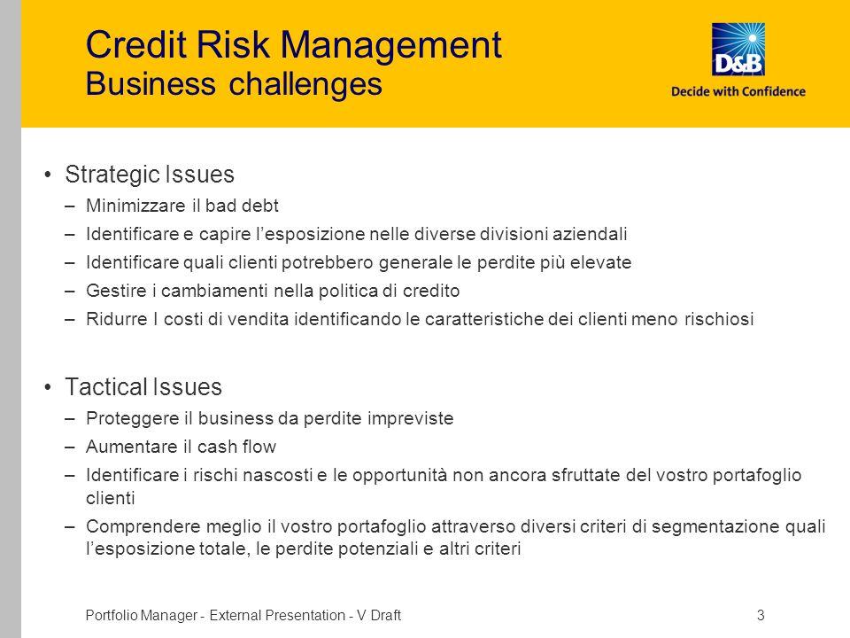 Portfolio Manager - External Presentation - V Draft 3 Credit Risk Management Business challenges Strategic Issues –Minimizzare il bad debt –Identifica