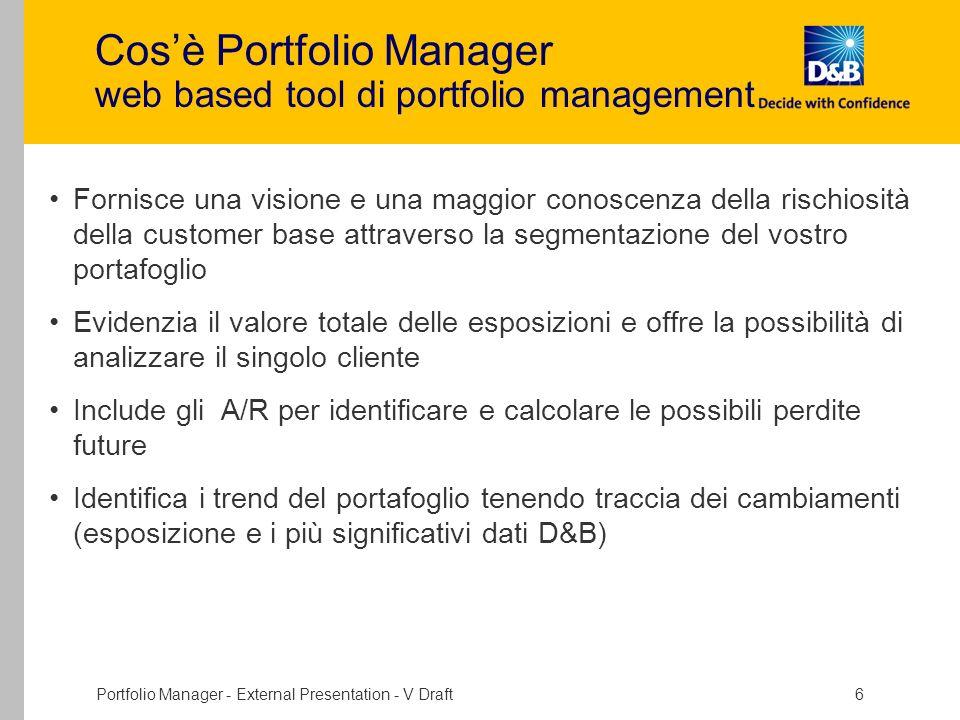 Portfolio Manager - External Presentation - V Draft 6 Cosè Portfolio Manager web based tool di portfolio management Fornisce una visione e una maggior