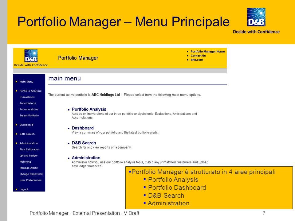 Portfolio Manager - External Presentation - V Draft 7 Portfolio Manager – Menu Principale Portfolio Manager è strutturato in 4 aree principali Portfol
