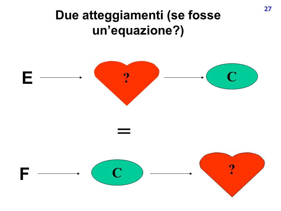 27 Due atteggiamenti (se fosse unequazione?) E C ? F C ? =