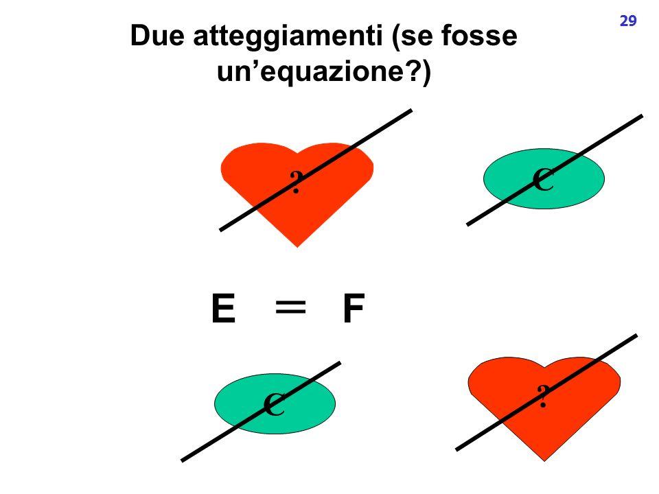 29 Due atteggiamenti (se fosse unequazione?) E C ? F C ? =