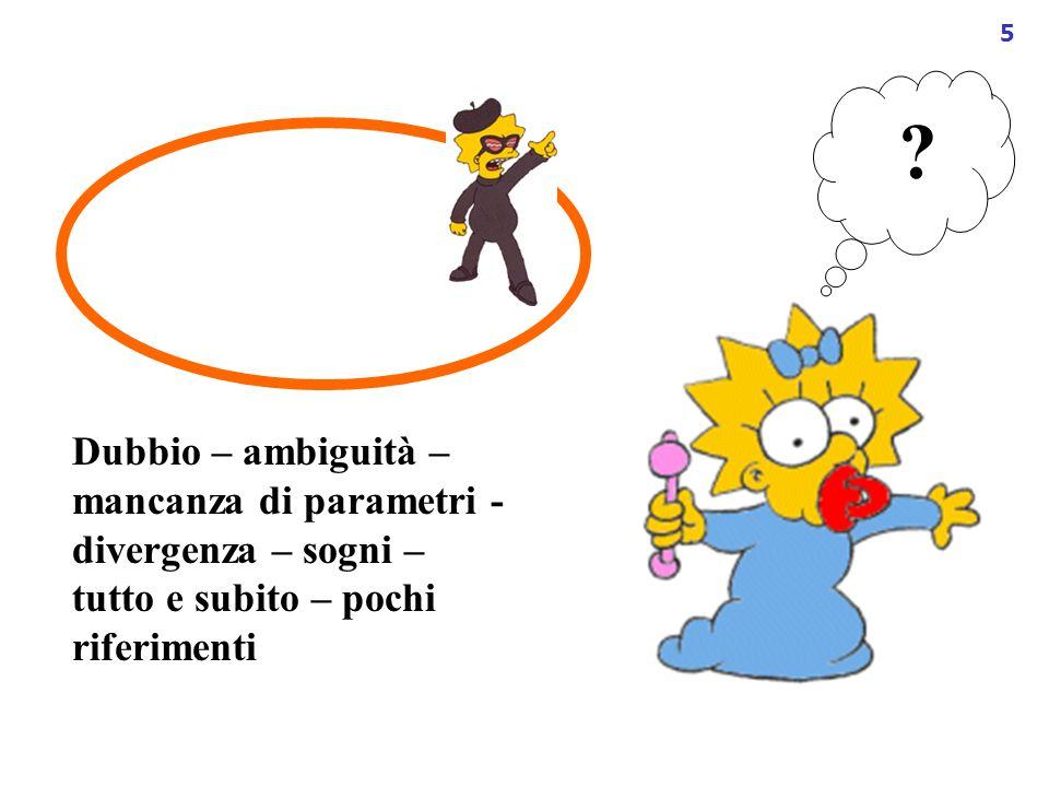 5 ? Dubbio – ambiguità – mancanza di parametri - divergenza – sogni – tutto e subito – pochi riferimenti