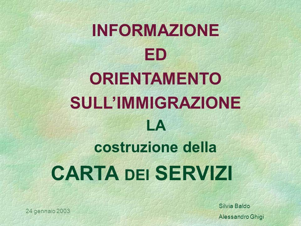 Silvia Baldo Alessandro Ghigi 24 gennaio 2003 Uno standard è lobiettivo di riferimento per valutare la qualità di un determinato servizio Uno standard può essere minimo o medio, deve essere rispettato Lo standard di qualità Q