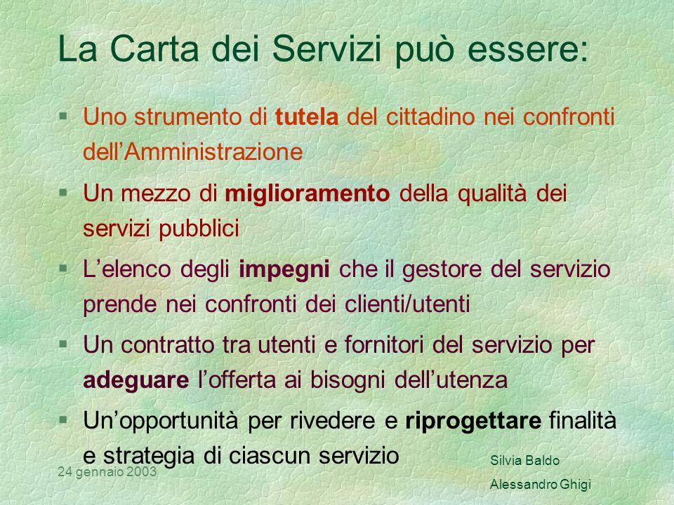 Silvia Baldo Alessandro Ghigi 24 gennaio 2003 Le finalità di una carta dei servizi Rendere noti i diritti degli utenti e gli strumenti di salvaguardia.