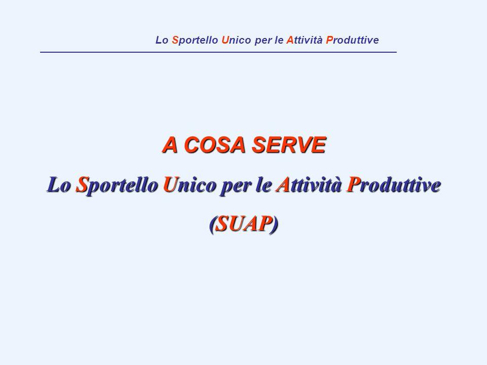 A COSA SERVE Lo Sportello Unico per le Attività Produttive (SUAP) Lo Sportello Unico per le Attività Produttive