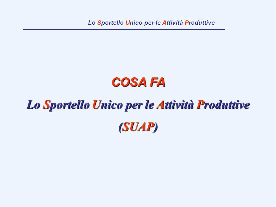 COSA FA Lo Sportello Unico per le Attività Produttive (SUAP) Lo Sportello Unico per le Attività Produttive