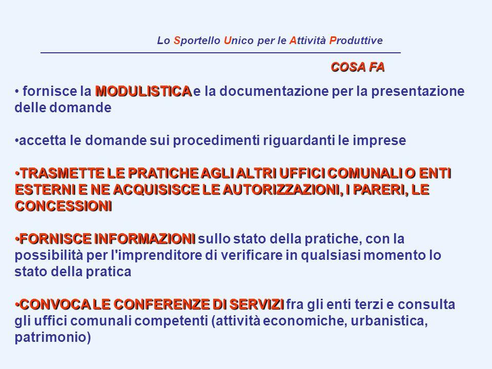 COSA FA MODULISTICA fornisce la MODULISTICA e la documentazione per la presentazione delle domande accetta le domande sui procedimenti riguardanti le