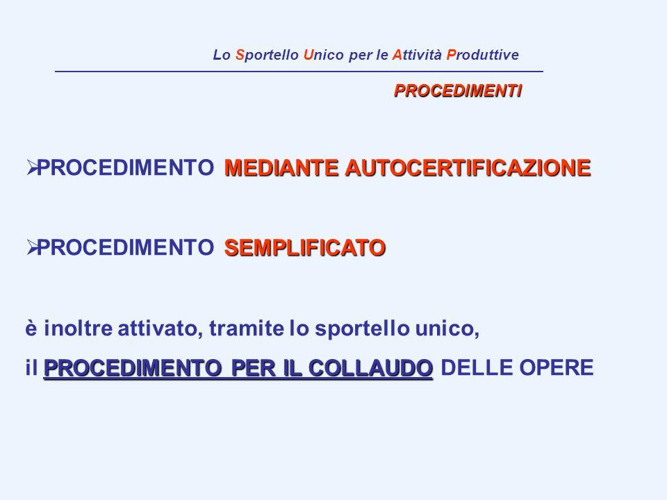 PROCEDIMENTI MEDIANTE AUTOCERTIFICAZIONE PROCEDIMENTO MEDIANTE AUTOCERTIFICAZIONE SEMPLIFICATO PROCEDIMENTO SEMPLIFICATO è inoltre attivato, tramite l