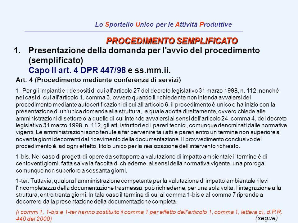 PROCEDIMENTO SEMPLIFICATO 1.Presentazione della domanda per l'avvio del procedimento (semplificato) Capo II art. 4 DPR 447/98 e ss.mm.ii. Art. 4 (Proc