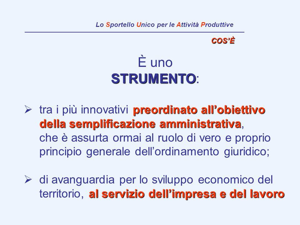 È uno STRUMENTO STRUMENTO: preordinato allobiettivo della semplificazione amministrativa tra i più innovativi preordinato allobiettivo della semplific
