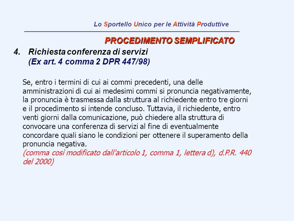 PROCEDIMENTO SEMPLIFICATO 4.Richiesta conferenza di servizi (Ex art. 4 comma 2 DPR 447/98) Se, entro i termini di cui ai commi precedenti, una delle a