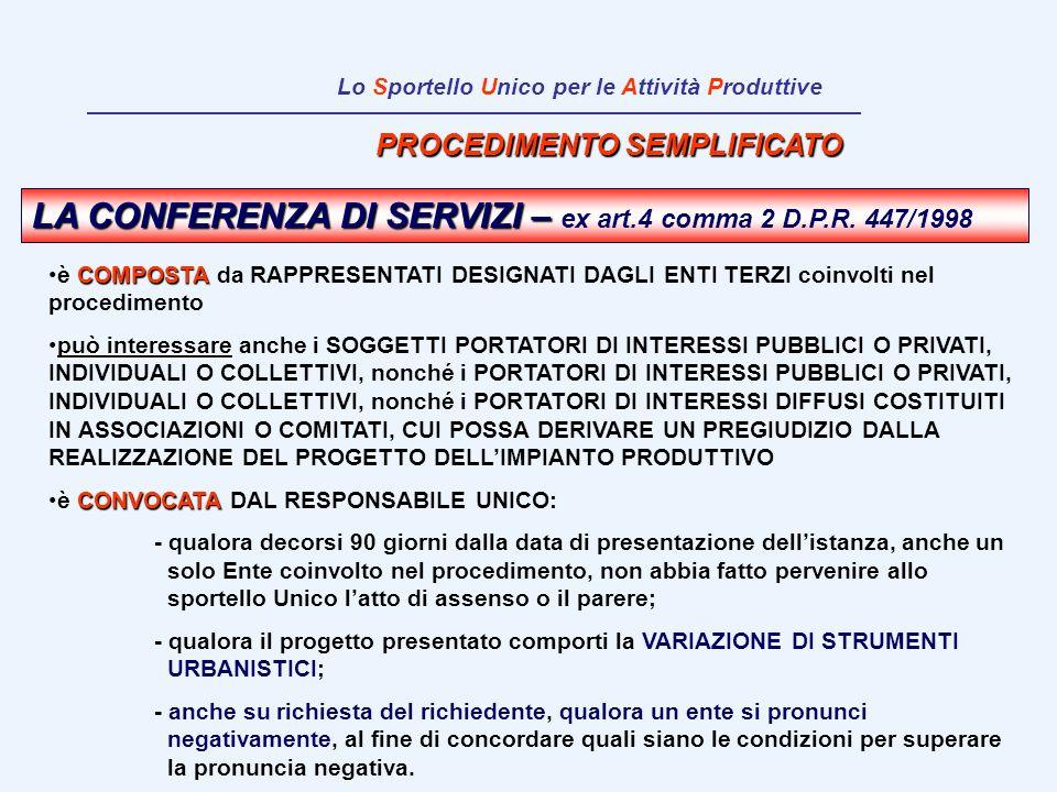 PROCEDIMENTO SEMPLIFICATO LA CONFERENZA DI SERVIZI – LA CONFERENZA DI SERVIZI – ex art.4 comma 2 D.P.R. 447/1998 COMPOSTAè COMPOSTA da RAPPRESENTATI D